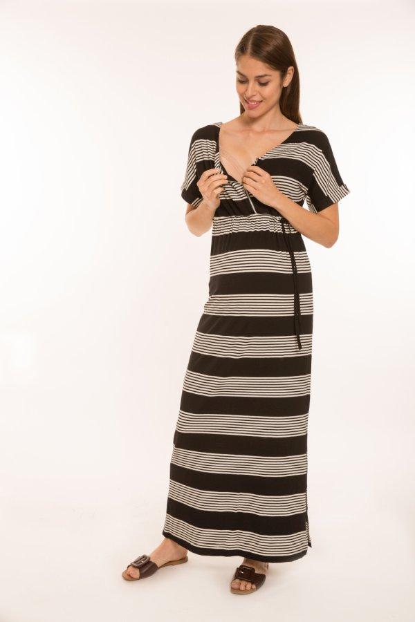 Anni szoptatós kismama ruha fekete-fehér csíkos
