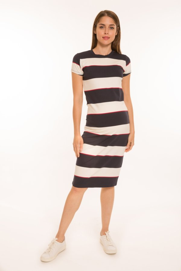 Basic ruha fehér- piros- kék csíkos