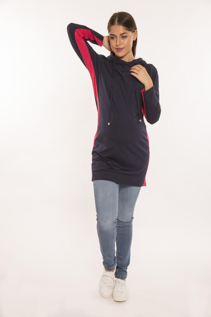 Bogi kapucnis kismamaruha hosszú ujjú kék-piros