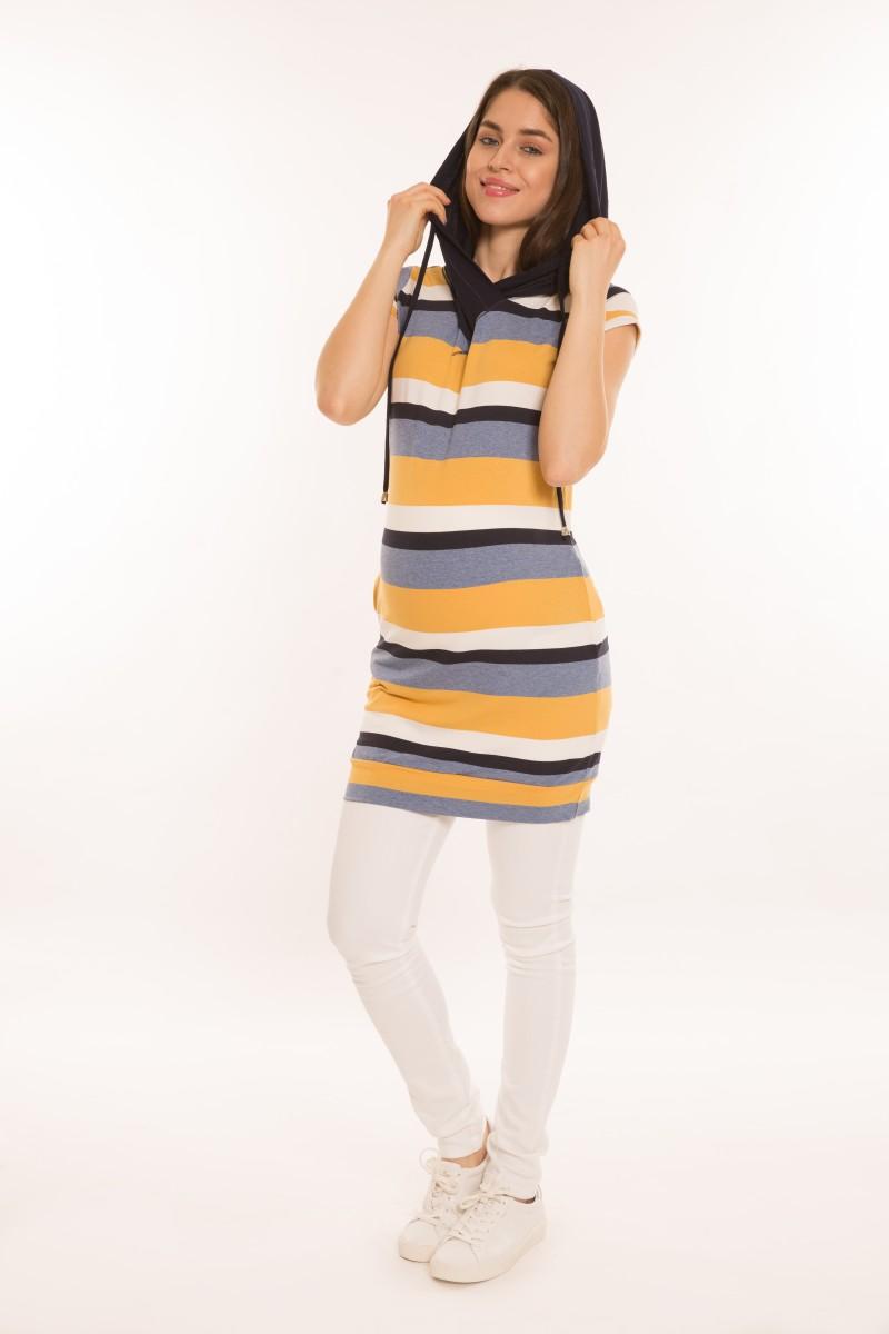 Bogi kapucnis tunika-ruha sárga-fkék-kék
