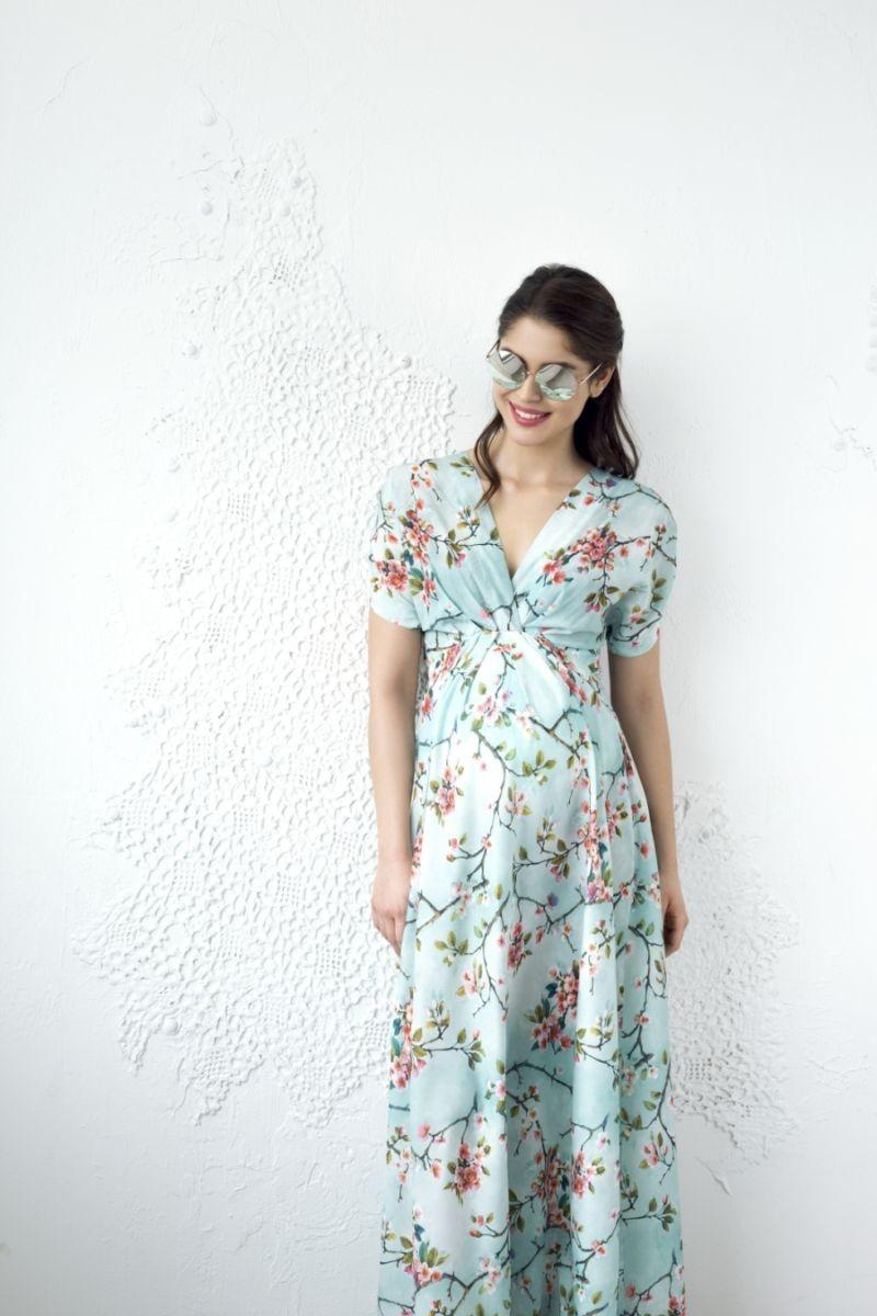 Cseresznyevirágos maxi kismama ruha