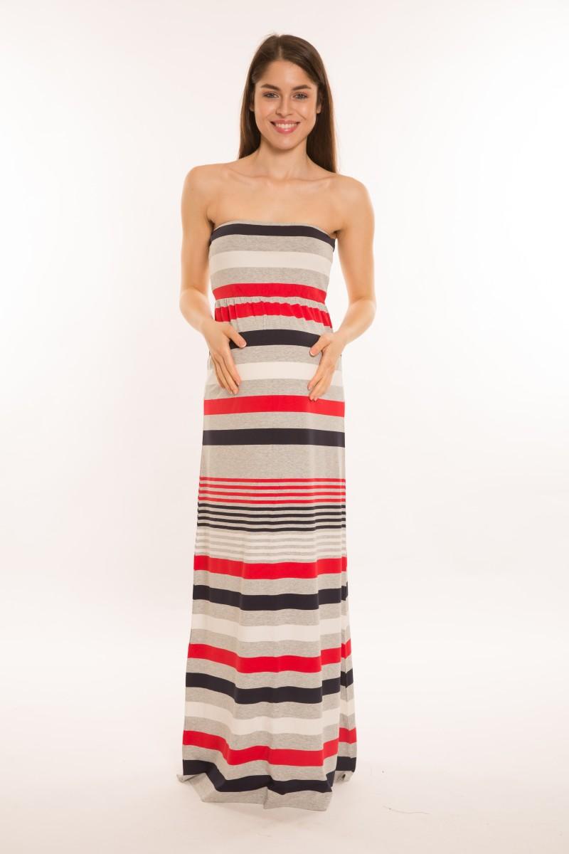 Darázs ruha maxi piros-kék-szürke