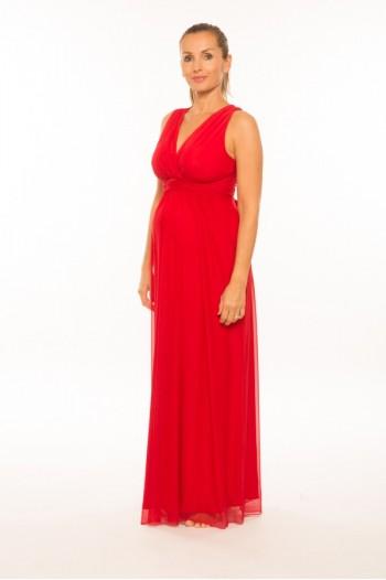 Elegáns hosszú kismama ruha piros