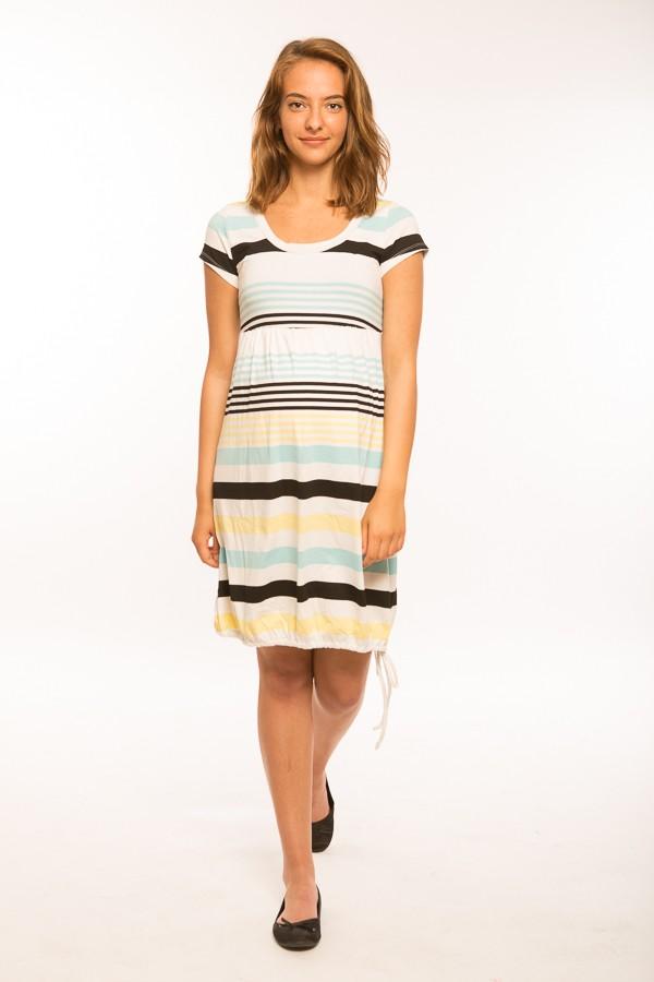 Hagyma kismama ruha rövid ujjú  sárga-fekete-fehér csíkos