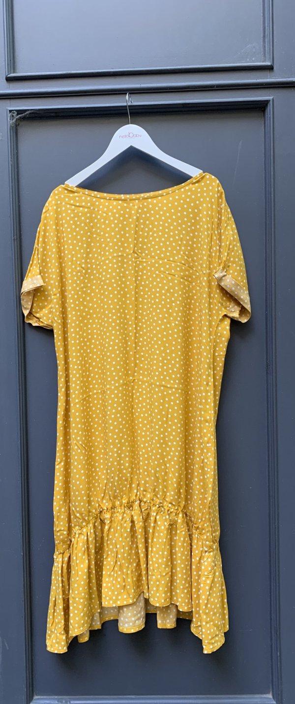 Hanga rövid ujjú kismama ruha sárga pöttyös