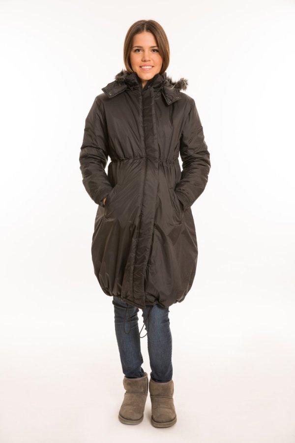 Kapucnis kismama kabát fekete