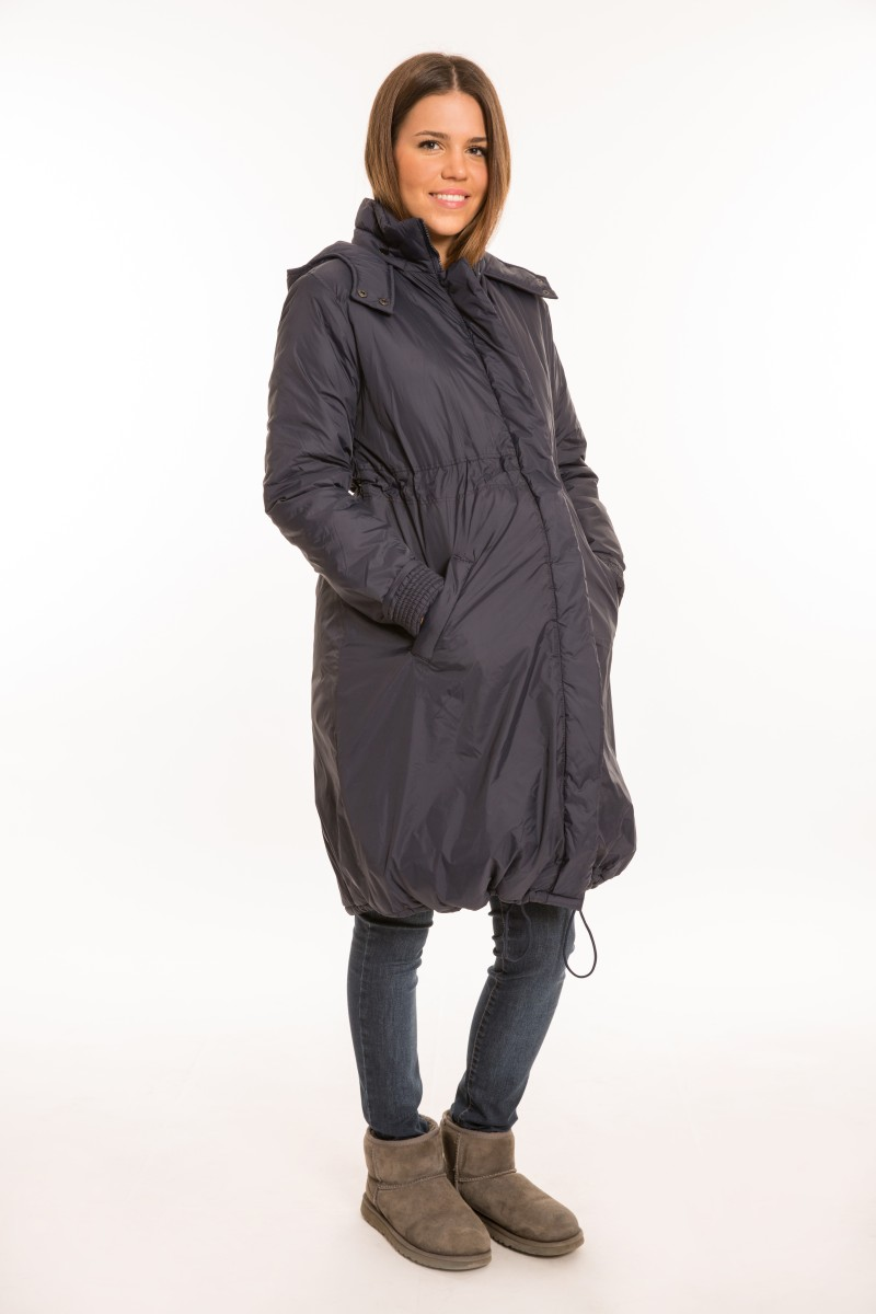 Kapucnis kismama kabát kék
