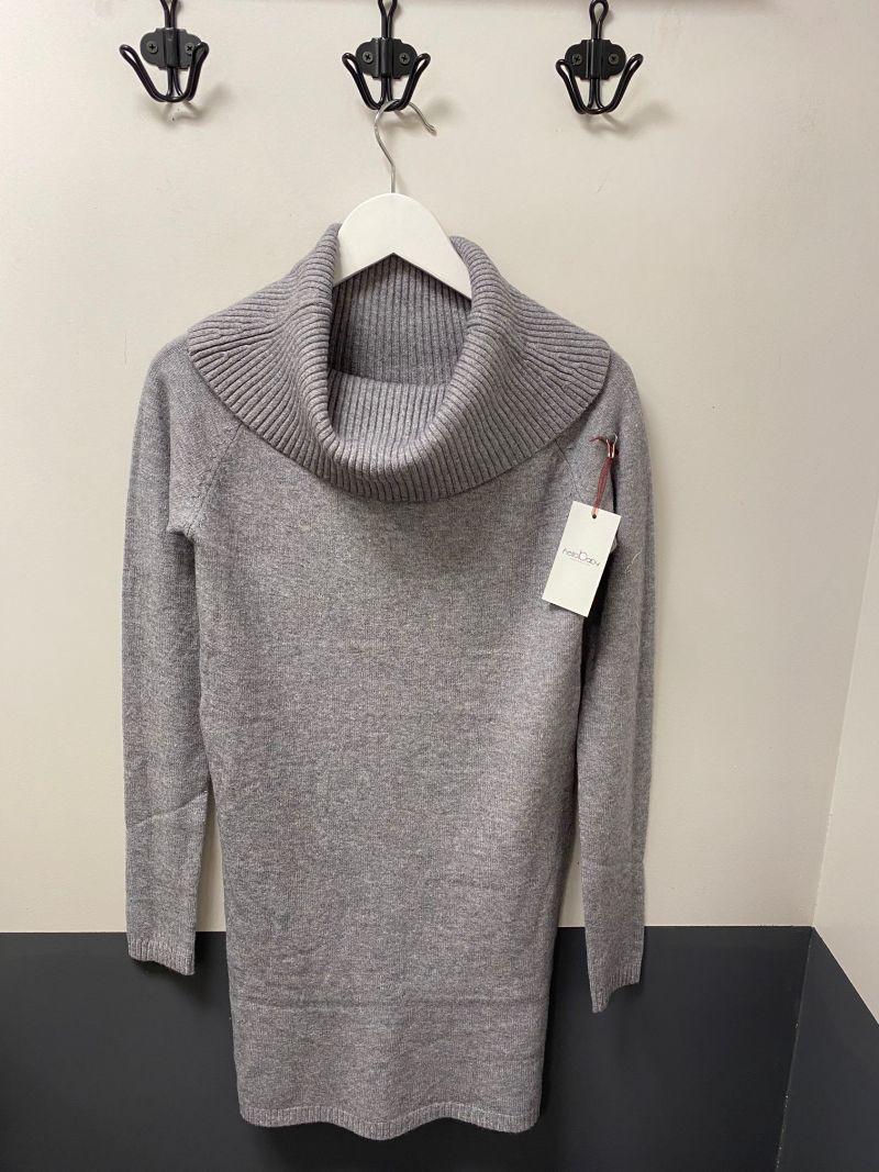 Kötött kámzsás tunika-pulóver szürke