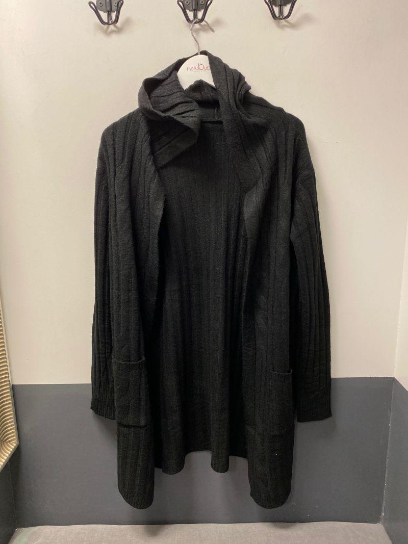 Kötött kapucnis kardigán fekete
