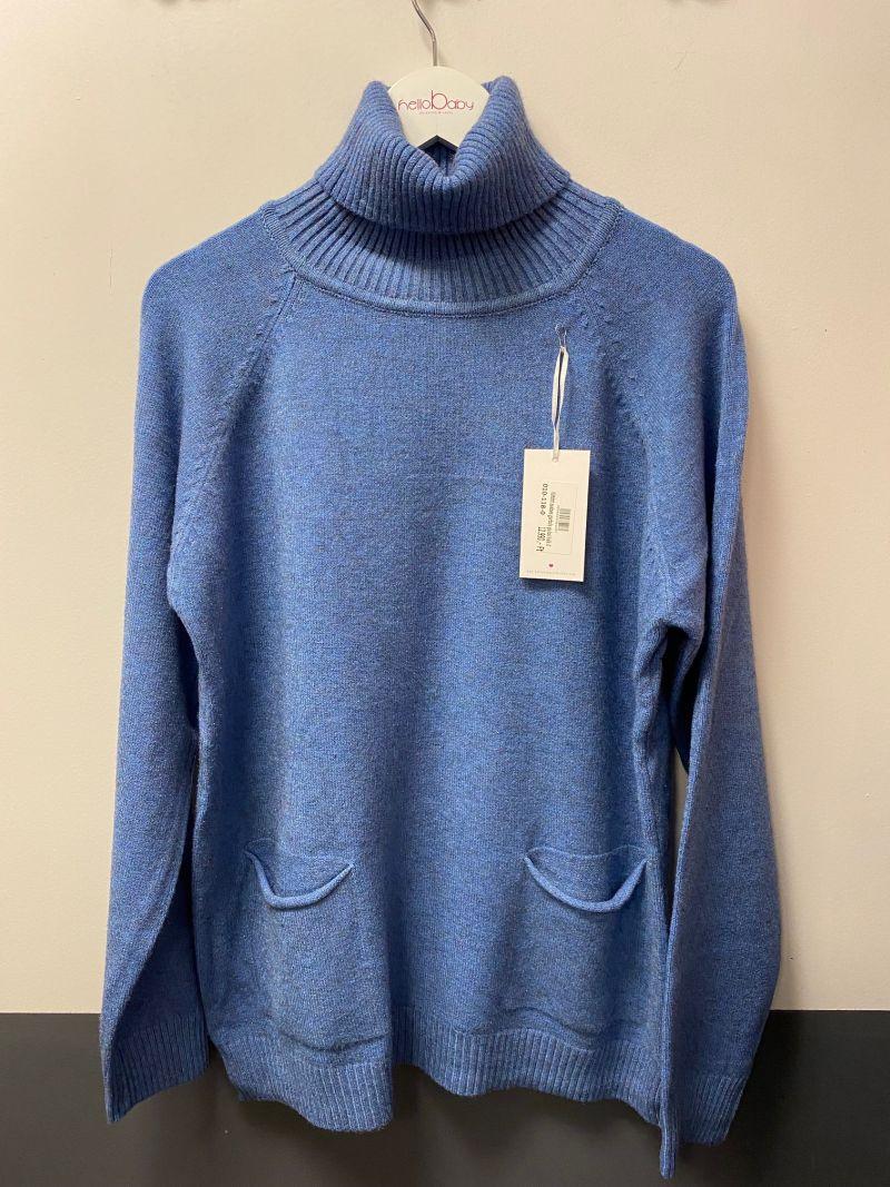 Kötött zsebes garbós pulcsi kék