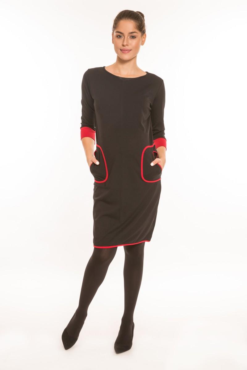 Mara kismamaruha hosszú ujjú fekete,piros zsebbel