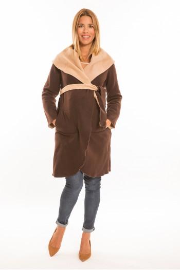 Marita kismama kabát barna-beige