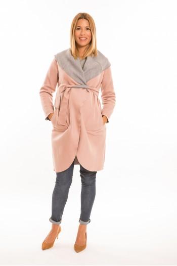 Marita kismama kabát rózsaszín-szürke