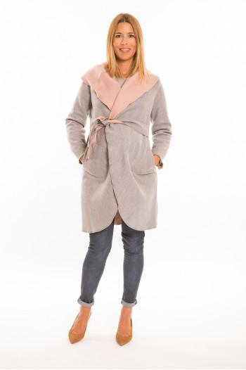 Marita kismama kabát szürke-rózsaszín