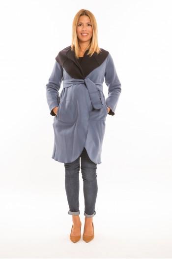 Marita kismama kabát világos kék-sötét kék