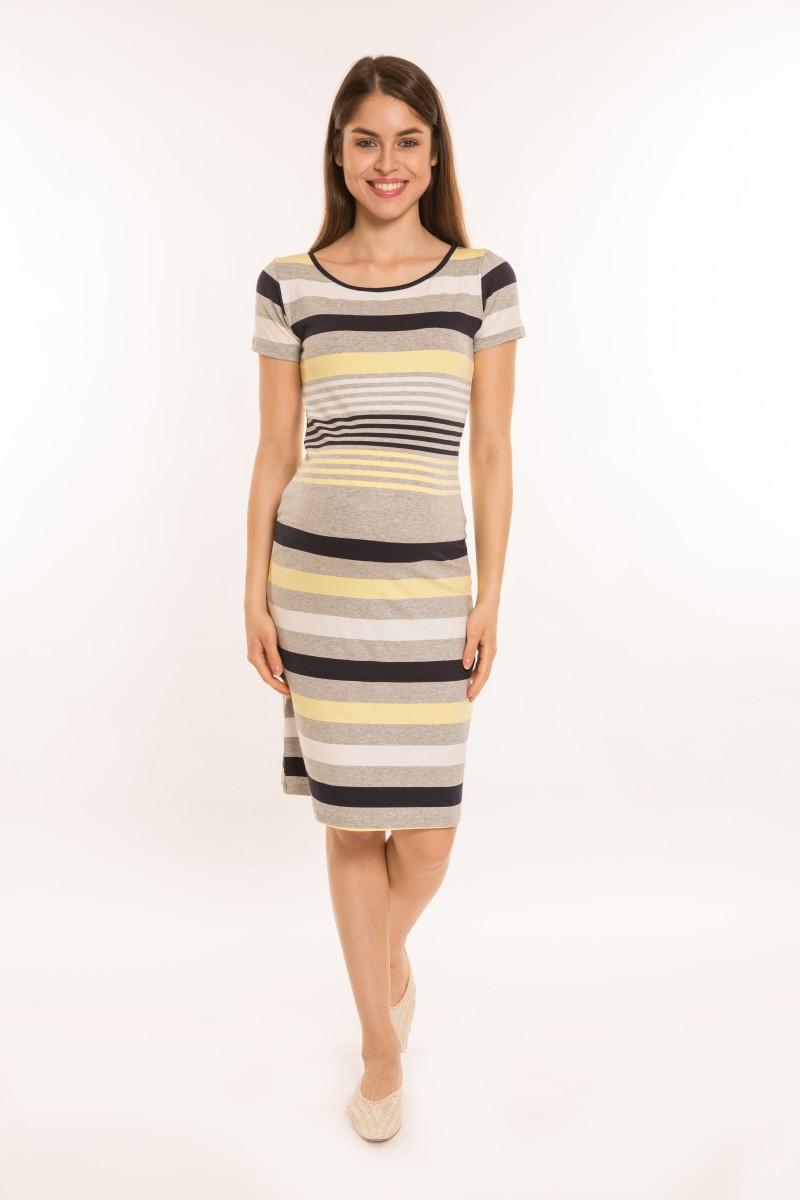 Matyi kismama ruha rövid ujjú,sárga-szürke-kék