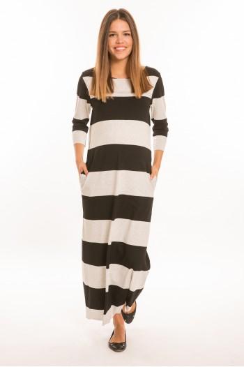 Momo kismama ruha hosszú ujjú fekete-szürke