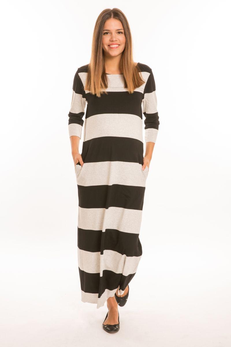 Momo kismama ruha maxi s.fekete-fehér csíkos