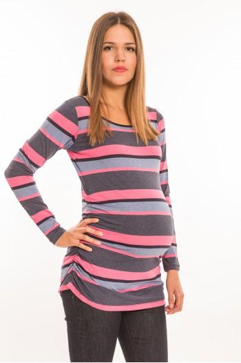 Oldalt húzott kismama felső hosszú ujjú farmerkék-pink