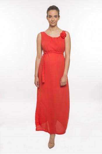 Rózsás kismama ruha ujjatlan hosszú piros