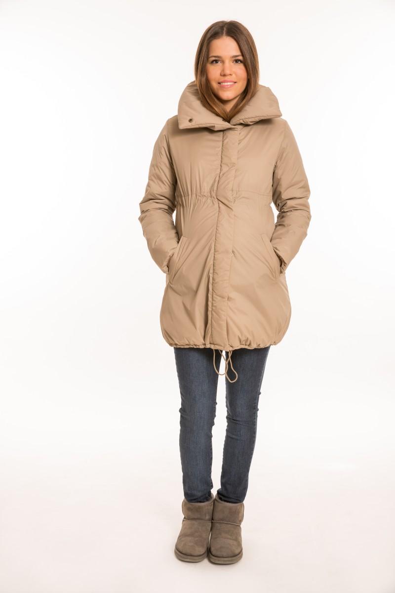 Sálgalléros kismama kabát bézs